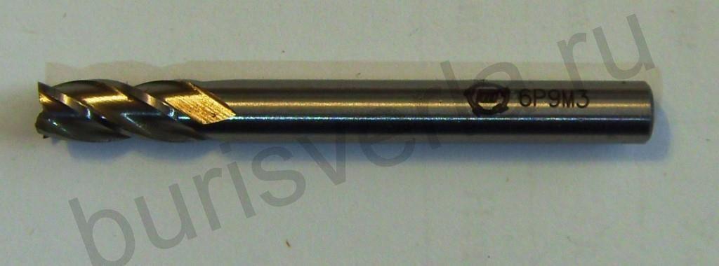 Фреза концевая 4-х заходная, Р9М3, 6 мм